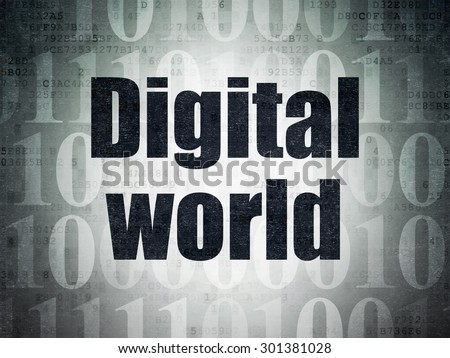 Information concept: Painted black text Digital World on Digital Paper background with   Binary Code, 3d render - stock photo