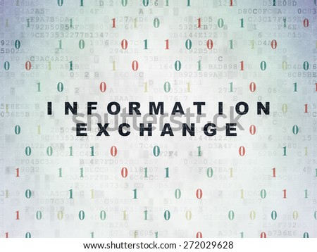Information concept: Painted black text Information Exchange on Digital Paper background with Binary Code, 3d render - stock photo