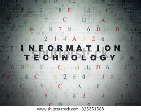 Information concept: Painted black text Information Technology on Digital Paper background with Hexadecimal Code - stock photo