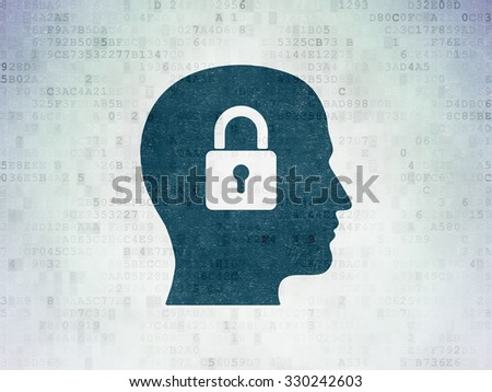 Information concept: Painted blue Head With Padlock icon on Digital Paper background