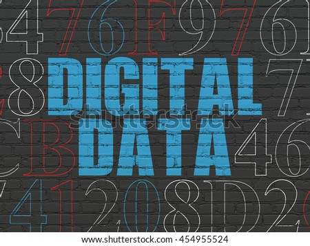 Information concept: Painted blue text Digital Data on Black Brick wall background with Hexadecimal Code - stock photo