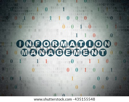 Information concept: Painted blue text Information Management on Digital Data Paper background with Binary Code - stock photo