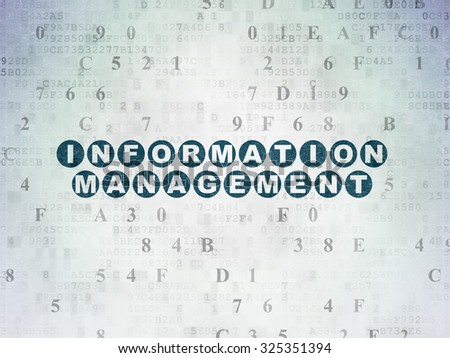 Information concept: Painted blue text Information Management on Digital Paper background with Hexadecimal Code - stock photo