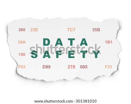 Information concept: Painted green text Data Safety on Torn Paper background with  Hexadecimal Code, 3d render