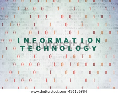 Information concept: Painted green text Information Technology on Digital Data Paper background with Binary Code - stock photo