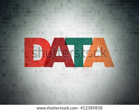 Information concept: Painted multicolor text Data on Digital Data Paper background - stock photo