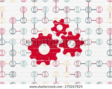 Information concept: Painted red Gears icon on White Brick wall background with Scheme Of Binary Code, 3d render - stock photo