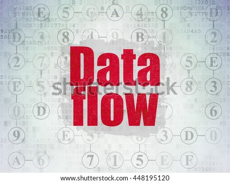 Information concept: Painted red text Data Flow on Digital Data Paper background with  Scheme Of Hexadecimal Code - stock photo