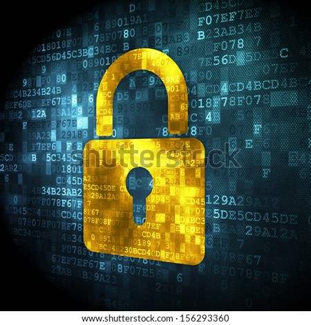 Information concept: pixelated Closed Padlock icon on digital background, 3d render - stock photo