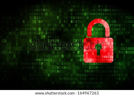 Information concept: pixelated Closed Padlock icon on digital background, empty copyspace for card, text, advertising, 3d render