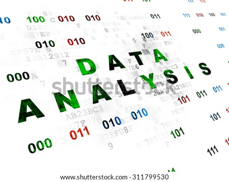 Information concept: Pixelated green text Data Analysis on Digital wall background with Binary Code - stock photo