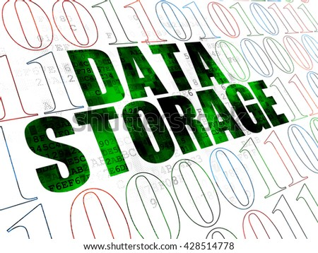 Information concept: Pixelated green text Data Storage on Digital wall background with Binary Code - stock photo