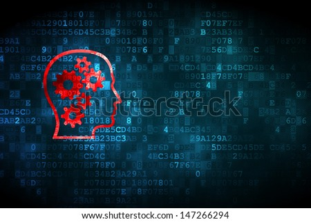 Information concept: pixelated Head With Gears icon on digital background, empty copyspace for card, text, advertising, 3d render