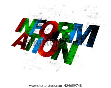 Information concept: Pixelated multicolor text Information on Digital background - stock photo