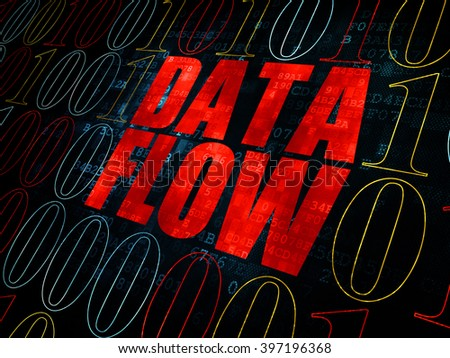 Information concept: Pixelated red text Data Flow on Digital wall background with Binary Code - stock photo
