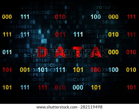 Information concept: Pixelated red text Data on Digital wall background with Binary Code, 3d render - stock photo