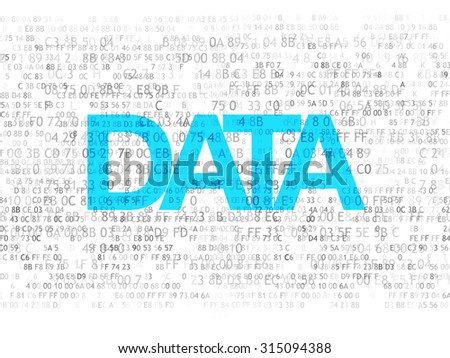 Information concept: Pixelated text Data on Digital background, 3d render - stock photo