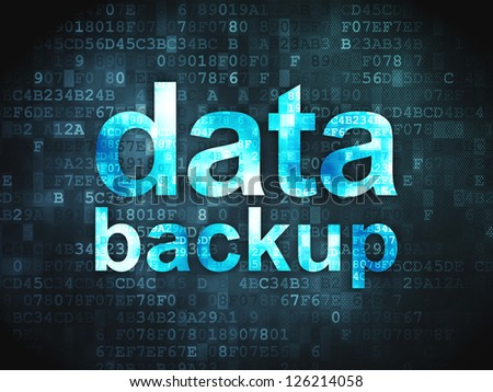 Information concept: pixelated words Data Backup on digital background, 3d render - stock photo