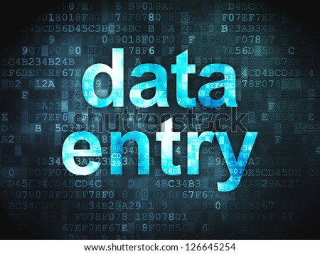 Information concept: pixelated words Data Entry on digital background, 3d render - stock photo