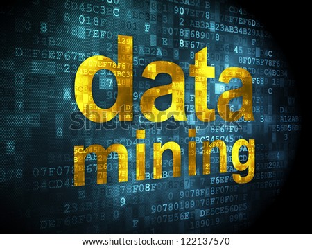 Information concept: pixelated words data mining on digital background, 3d render - stock photo