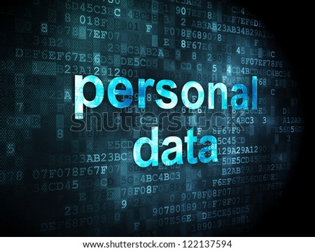Information concept: pixelated words personal data on digital background, 3d render - stock photo