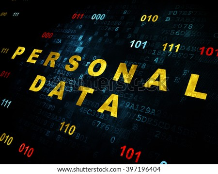 Information concept: Pixelated yellow text Personal Data on Digital wall background with Binary Code - stock photo