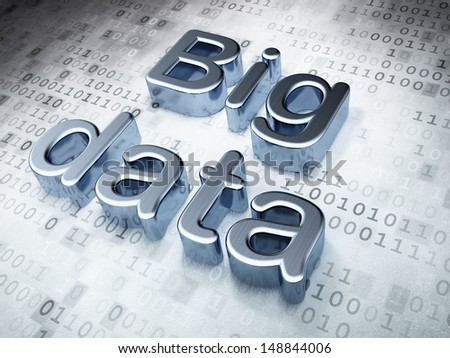 Information concept: Silver Big Data on digital background, 3d render