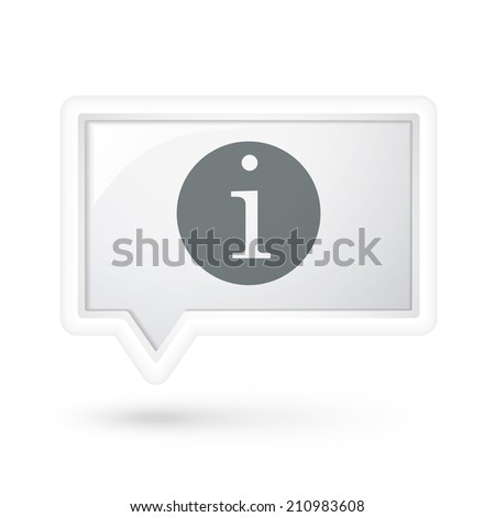 information icon over speech bubble over white - stock photo