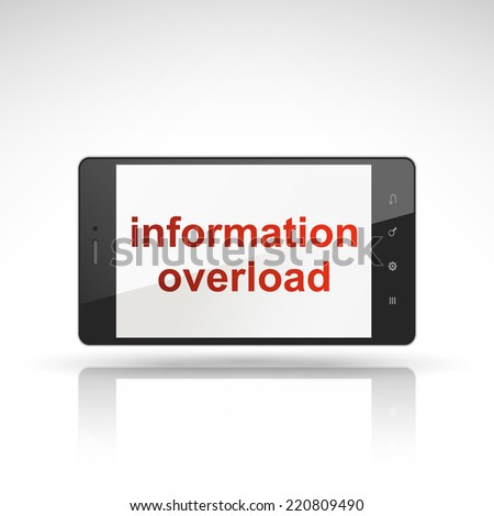information overload words on mobile phone isolated on white - stock photo
