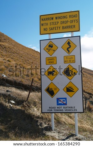 Information panel and signs, Skippers road, New Zealand - stock photo