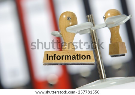 Information printed on rubber rubber stamp - stock photo