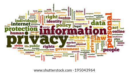 Information privacy in word tag cloud on white background - stock photo