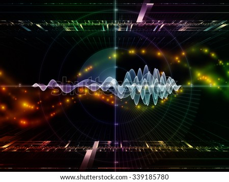 Information Processing series. Arrangement of graph , wave and fractal elements on the subject of science, theoretical physics, technology and education