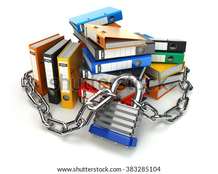 Information protection.  File folder and chain with lock. Data and privacy security. 3d - stock photo