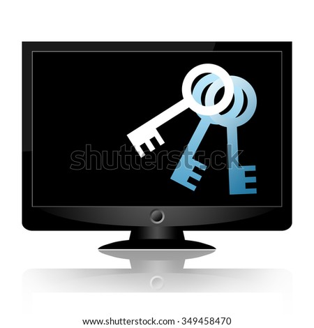 Information security, a computer monitor with keys on the screen isolated on a white background - stock photo