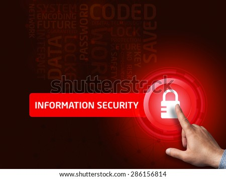 Information security. Businessman presses a button on the virtual screen. Business, technology, internet and networking concept. - stock photo
