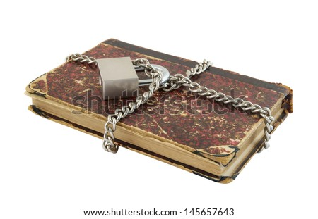 Information security concept, old book with chain and padlock