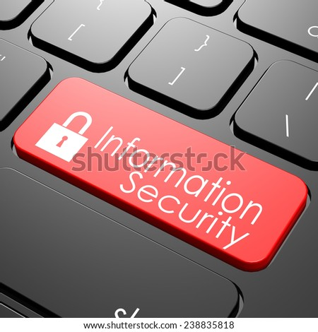 Information security keyboard image with hi-res rendered artwork that could be used for any graphic design. - stock photo
