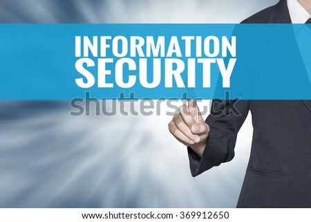Information Security word on virtual screen touch by business woman cyan sky tab - stock photo