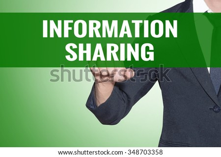 Information Sharing word Business man point on green tab virtual screen - stock photo