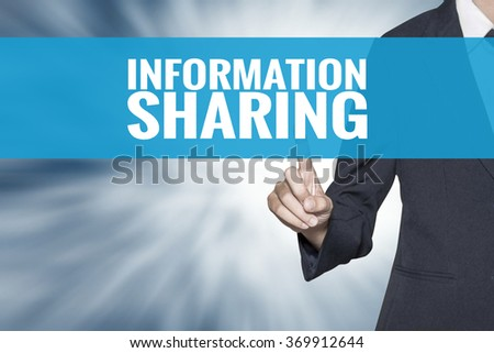 Information Sharing word on virtual screen touch by business woman cyan sky tab - stock photo