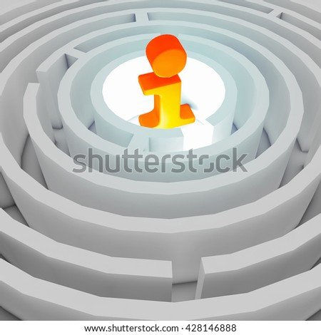 information sign in the centre of the maze. 3D illustration - stock photo