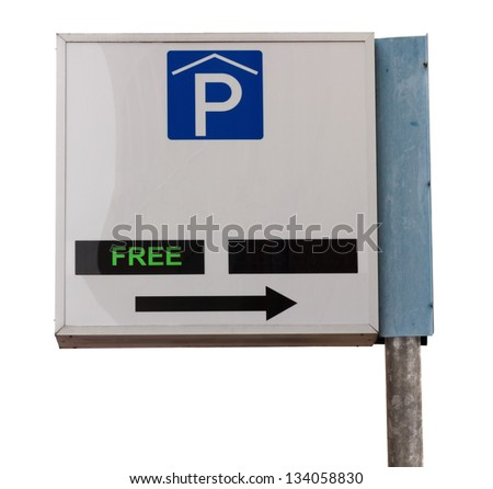 Information sign indoor parking garage with indication of available space - stock photo