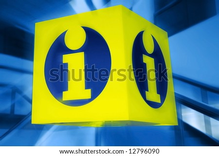 information signboard. yellow shield