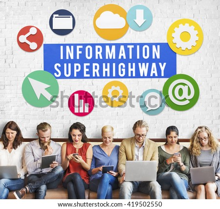 Information Superhighway Online Network Connect Concept - stock photo