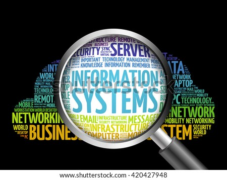 Information Systems word cloud with magnifying glass, business concept - stock photo