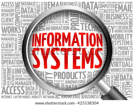 Information Systems word cloud with magnifying glass, business concept 3D illustration - stock photo