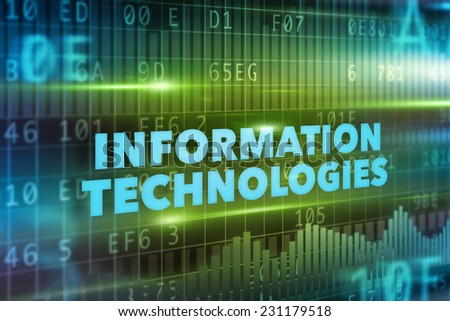 Information technologies concept green background blue text - stock photo