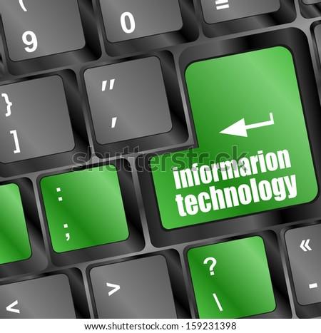 information technology button on computer keyboard key, raster - stock photo