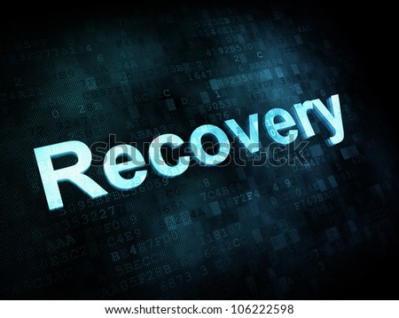 Information technology concept: pixelated words Recovery on digital screen, 3d render - stock photo